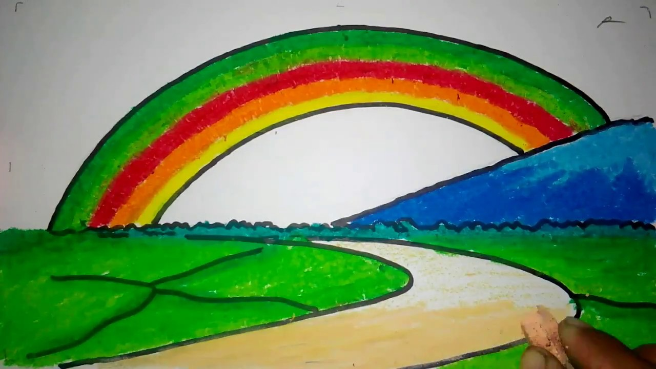 Cara Menggambar Pelangi Di Gunung Youtube