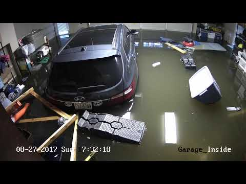 Houston Harvey Flood - Meyerland Neighborhood - August 27 2017 - Garage Time Lapse