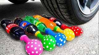 Crushing Crunchy & Soft Things by Car! Experiment Car vs Coca Cola Candy Mirinda Balloons toys
