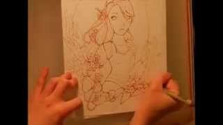 Rapunzel Process - Sketch and Ink