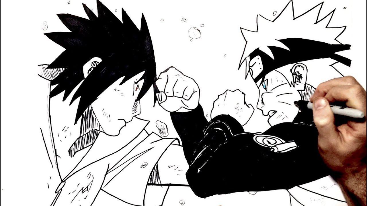 How To Draw Naruto Vs Sasuke Step By Step