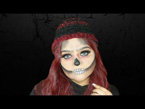 Halloween makeup tutorial -- Glam skull makeup-- Last minute halloween makeup - 동영상