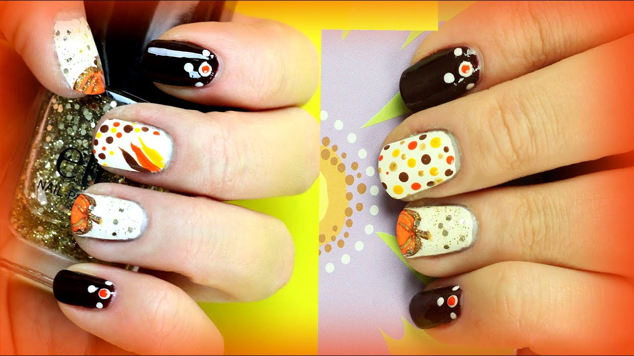 2 Thanksgiving Nail Art Designs for Beginners. DIY Easy Fall Nails ...