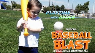 "Learning How to Play Tee Ball - ""Baseball Blast"" - Playtime with Ayden -  Episode #1"