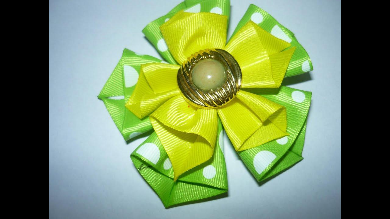 Diy hair accessories flor dobles con cinta para el - Lazos con cintas ...