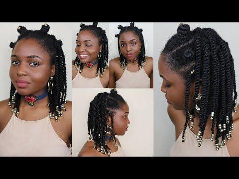 Bantu Knots & Twists protective style on 4c Natural Hair  Ganja burn