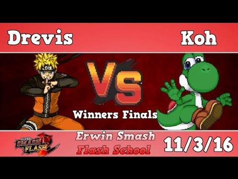 ESFS - Drevis (Naruto) Vs. Koh (Yoshi) Winners finals - Super Smash Flash 2 (Only one game)