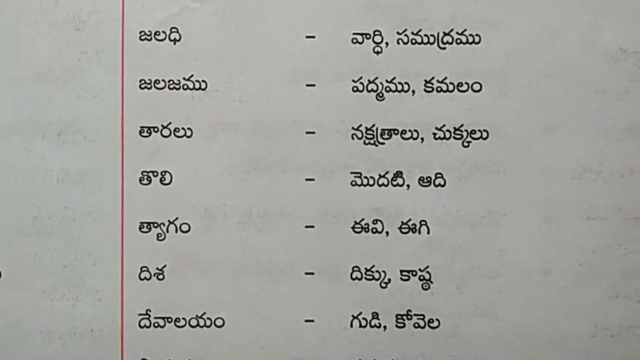 10th class telugu grammar notes Paryaya Padalu
