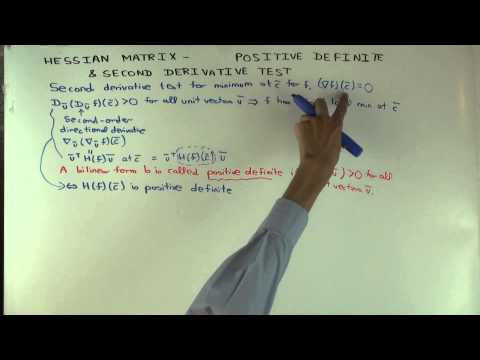 Hessian matrix and second derivative test for a function of multiple variables