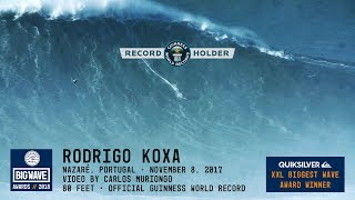 Rodrigo Koxa World Record at Nazaré - 2018 Quiksilver XXL Biggest Wave Award Winner