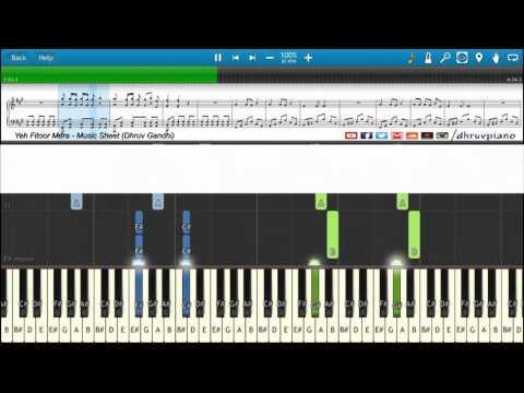♫ Yeh Fitoor Mera (Arijit Singh) || Piano Tutorial + Music Sheet + MIDI with Lyrics