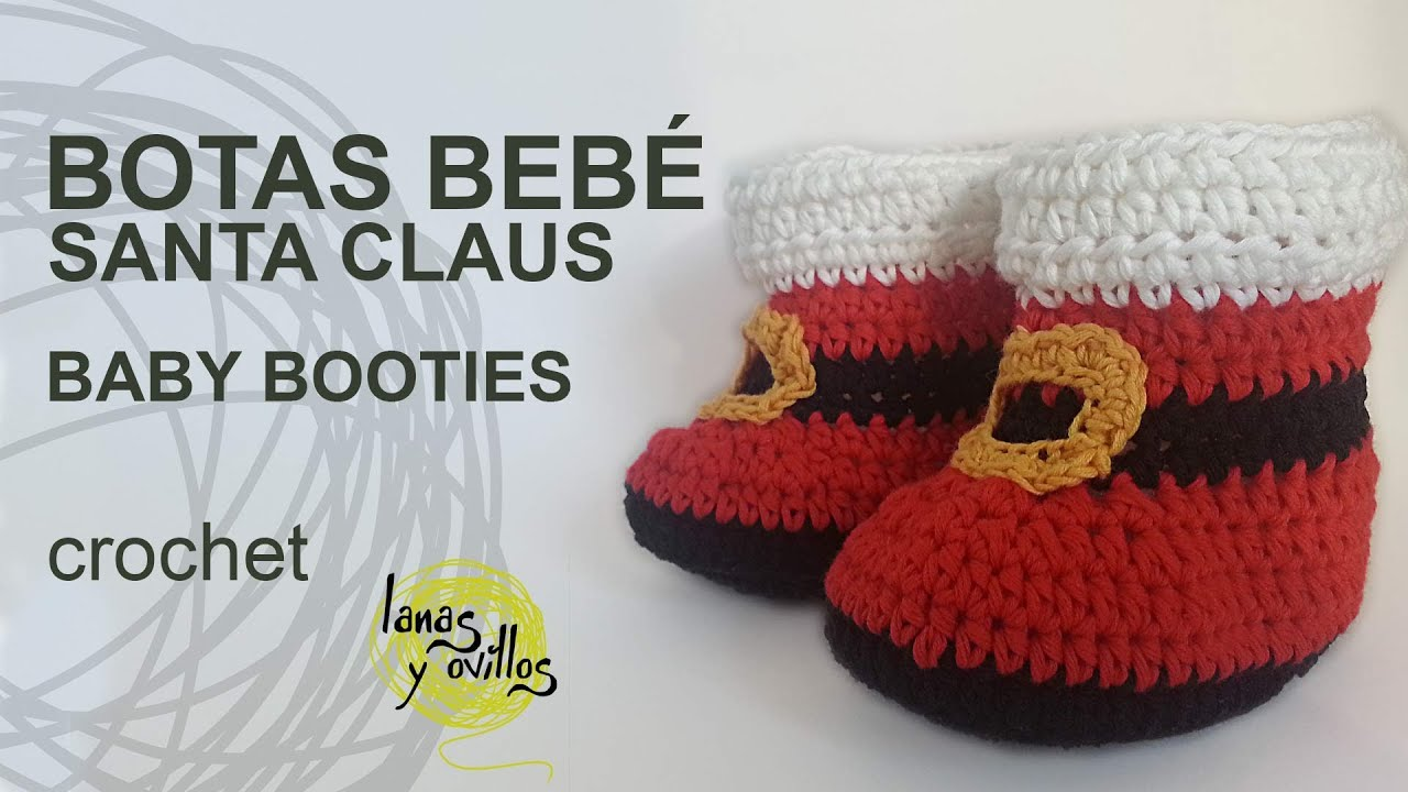 Botas Bebé Crochet o Ganchillo Santa Claus - YouTube