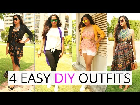4 DIY Outfits Hack Using Old Clothes - No-Stitch, No-Glue, Budget Clothing | ShrutiArjunAnand