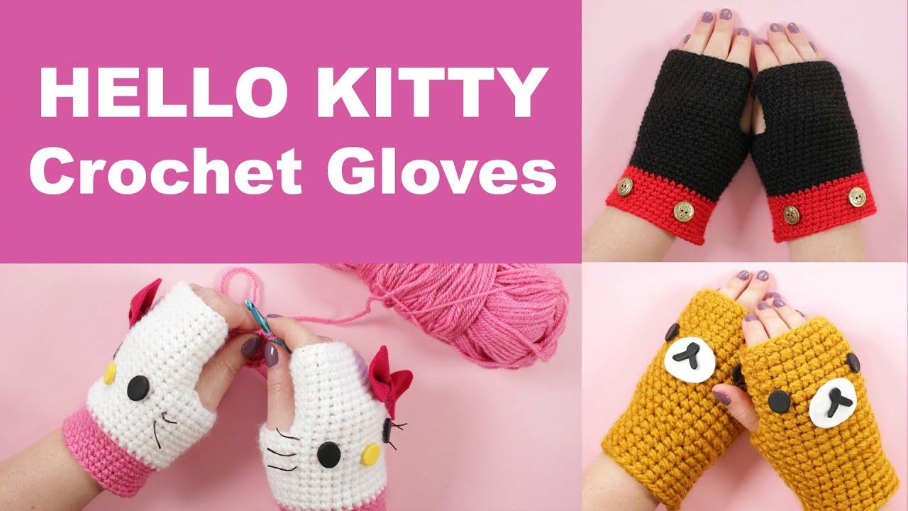 Fingerless gloves diy - Diy Crochet Gloves Hello Kitty Gloves Beginners Crochet Tutorial Youtube