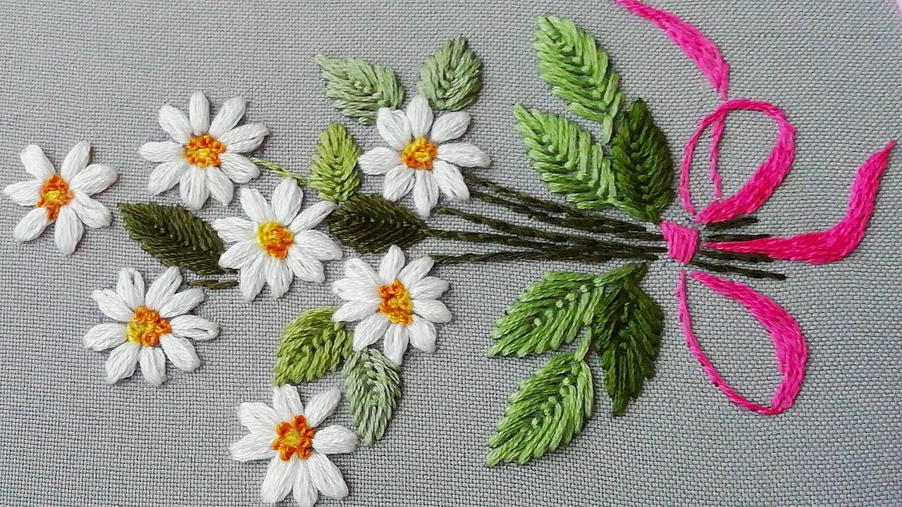 Hand Embroidery Daisy flower 🌼 Very easy stitches  top embroidery