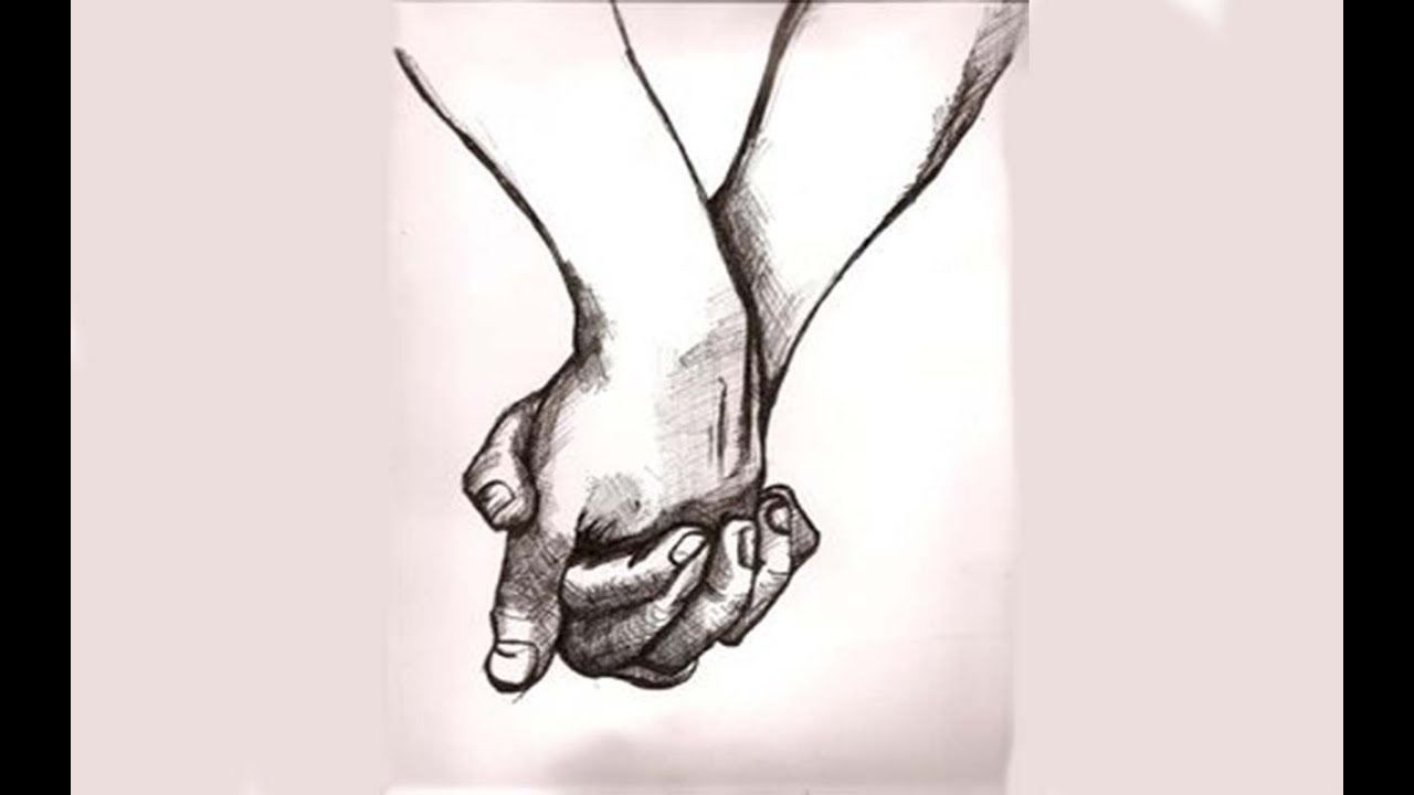 Cute Couples Holding Hand Pencil Sketch