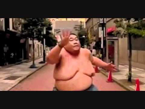 Fat chinese guy running