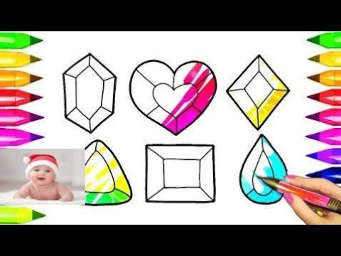 Coloring Pages Magic Colored Crystals | Crystal Drawings and Art Colours for Kids   #part 35