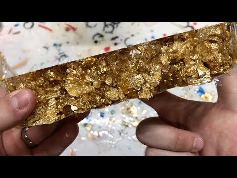 Making A Gold Leaf & Crystal Clear Alumilite Resin Block