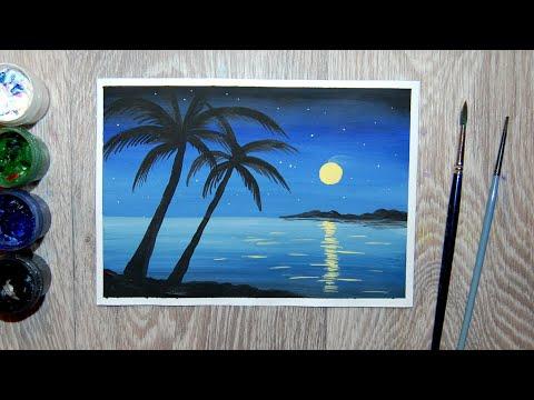 Как нарисовать ночной пейзаж с пальмой гуашью