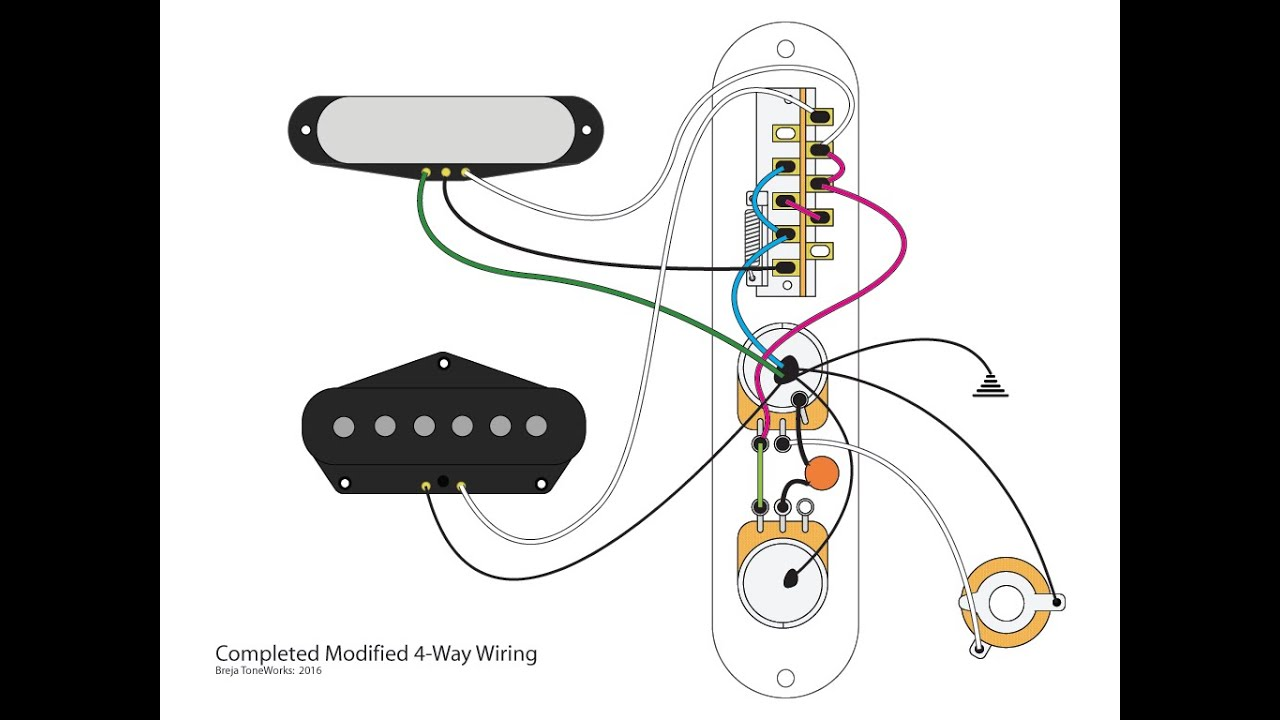 acoustasonic telecaster wiring diagram telecaster wiring diagram 4 modified 4 way telecaster mod youtube