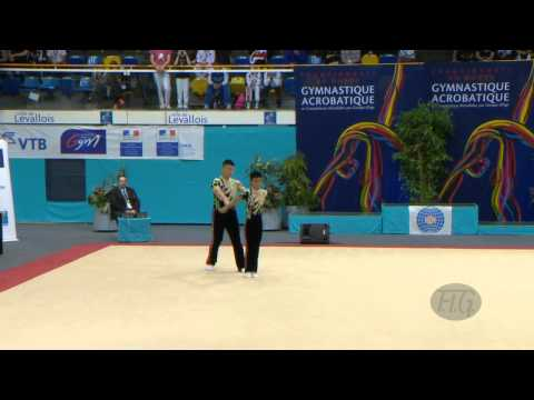 CHINA, Men's Pairs - Dynamic Qualifications  -- 2014 Acrobatic Worlds, Levallois-Paris (FRA)