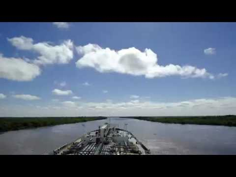 Big oil chemical tanker in the Parana river of Argentina timelapse 2 days in 1 minute