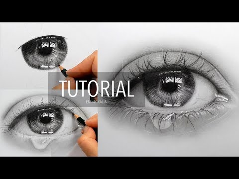 Tutorial | How to draw, shade a realistic eye with teardrop – step by step | Emmy Kalia