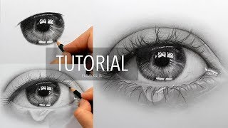 Tutorial | How to draw, shade a realistic eye with teardrop - step by step | Emmy Kalia