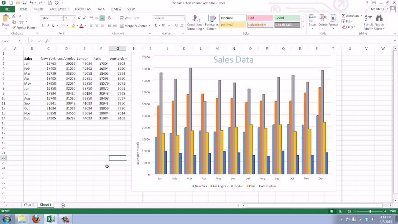 How to Add a Axis Title to an Existing Chart in Excel 2013 - YouTube