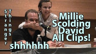 David Harbour SPOILERS! S2&3 Millie Bobby Brown Scolding about spoiling s2&3 Stranger Things Panel