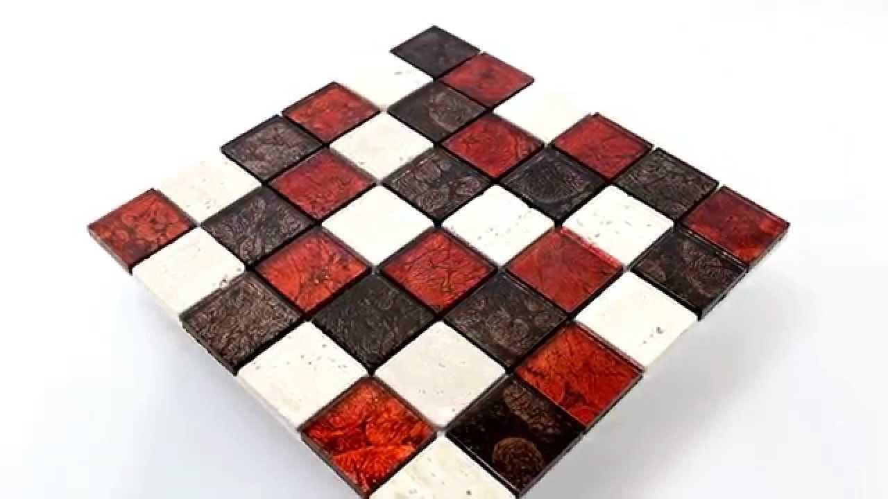 Wohnraum Mosaik Fliesen aus Naturstein Glas Braun Rot Cream - YouTube