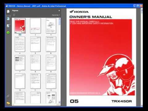 Honda TRX450 (2004-2006) - Service Manual - Wiring Diagram - YouTube | Trx 450 Wiring Diagram |  | YouTube