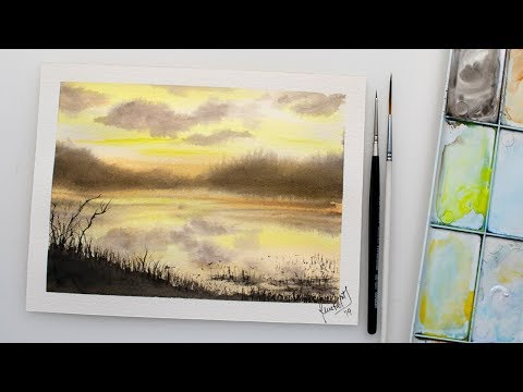 Watercolor impressionistic seascape painting – easy painting demo