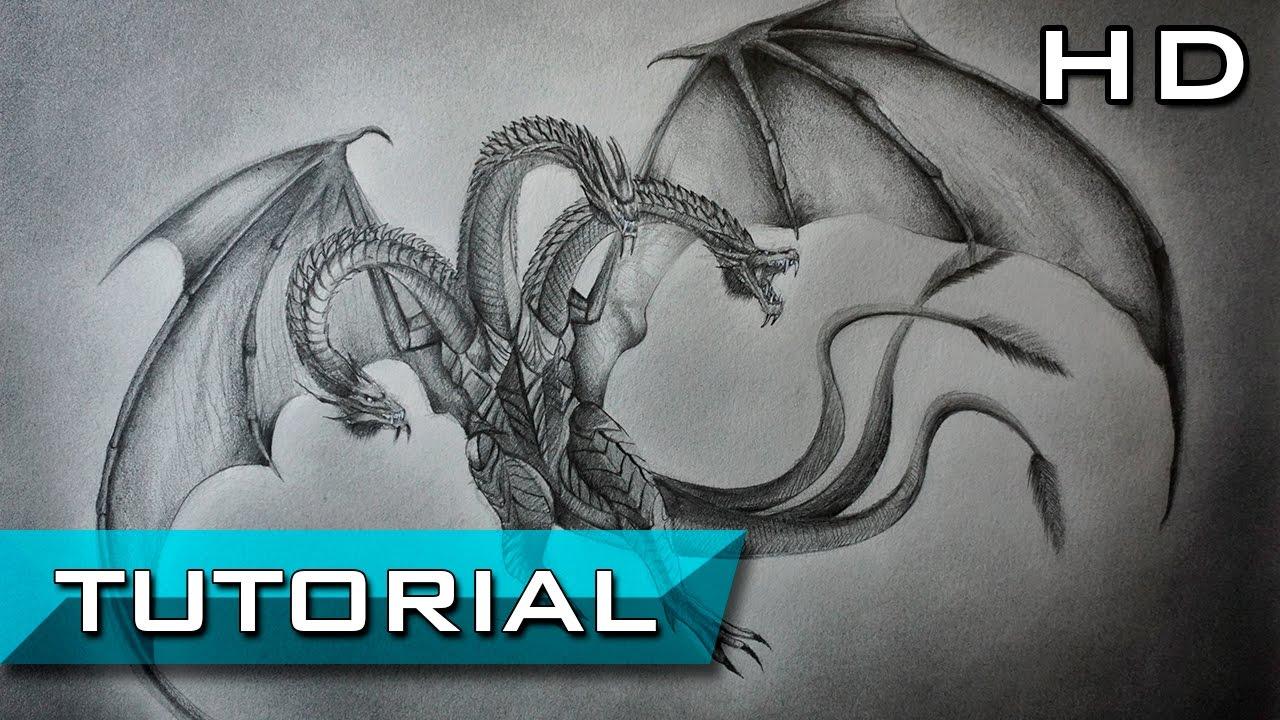 Cómo Dibujar Un Dragón De 3 Cabezas Realista Paso A Paso A Lápiz