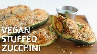 Vegan Apple Sausage Stuffed Zucchini (Vegan Thanksgiving Side or Main)