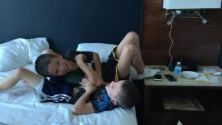 Boys bed wrestling!!