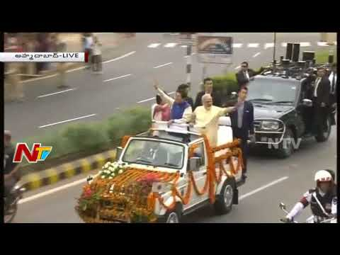 Narendra Modi & Japan PM Shinzo Abe Roadshow in Ahmedabad || Live || NTV