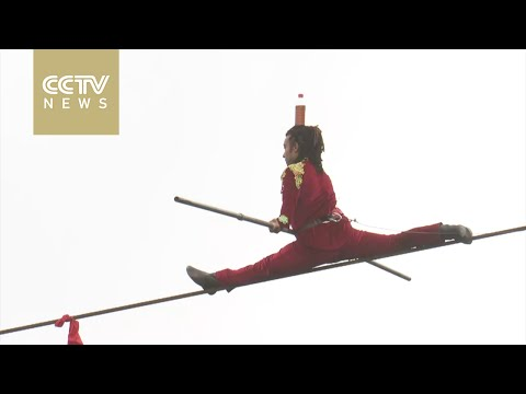 Three top tightrope masters compete in China