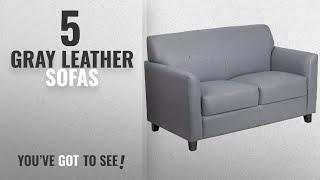 Top 10 Gray Leather Sofas [2018 ]: Flash Furniture HERCULES Diplomat Series Gray Leather Loveseat