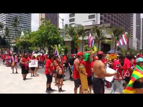 "Weekend at Waikiki beach, ""Aloha Aina March"", Honolulu, Hawaii"