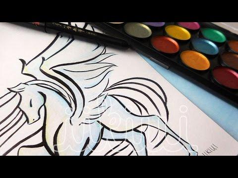 Mythology Series (#3): Pegasus - Watercolor Speedpaint ♡ iiKiui