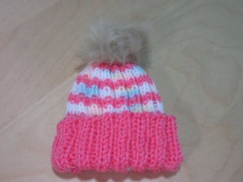 How to knit a newborn baby hat for beginners with circular needles ... 6acb6185157