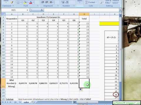 Uji Validitas Kuesioner Dengan Excel Youtube
