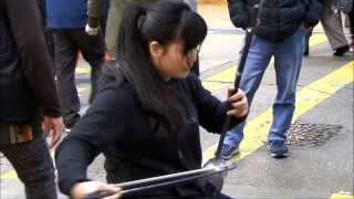 "Hong Kong Street Music. The ""Erhu"", Single Stringed Chinese Musical Instrument. Mong Kok"