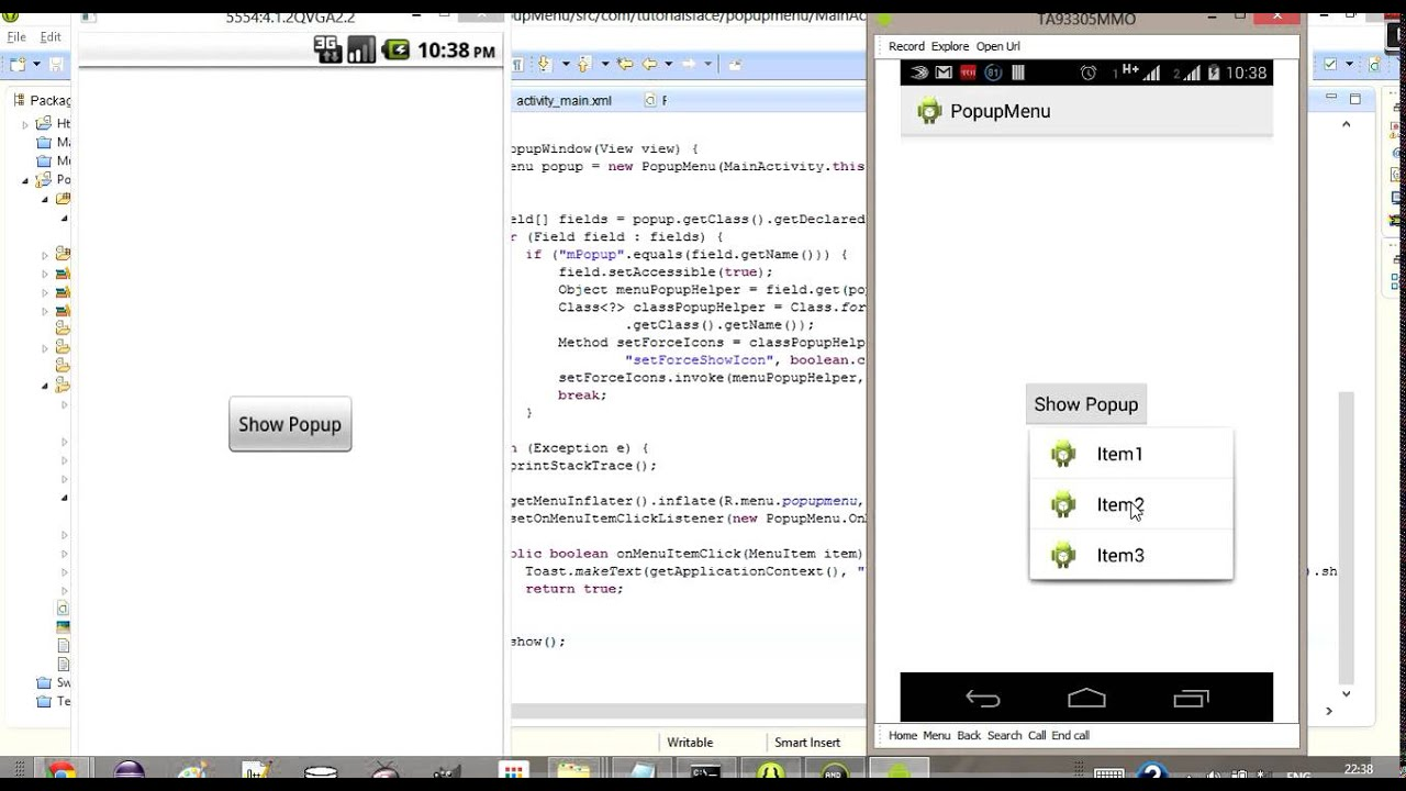 PopupMenu In Android API 8 With Icon