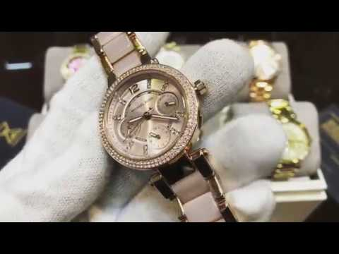 0509a7a539b0f MICHAEL KORS Parker Mini Multi-Function Rose Dial Rose Gold-tone and Blush  Acetate Ladies MK6110