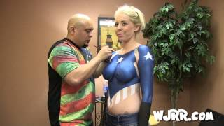 Red, White and Boobs! Body Painting with Brandi C