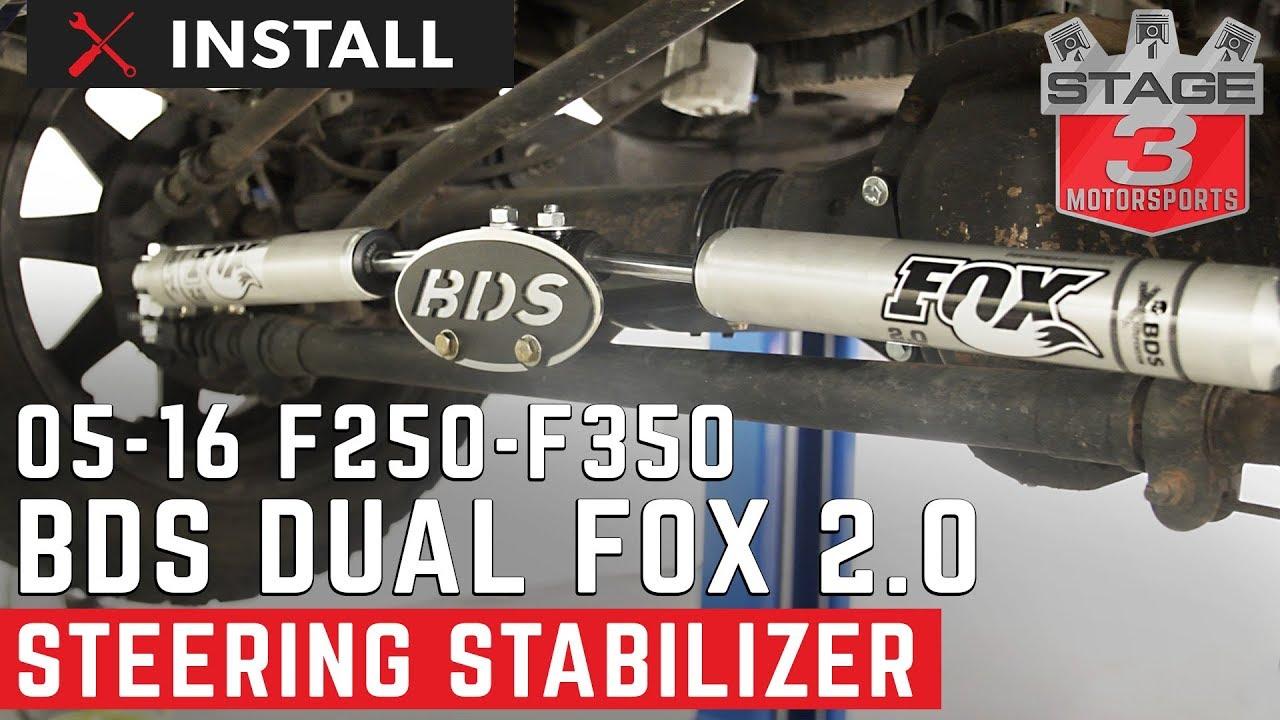 2005-2016 F250 & F350 4WD BDS Fox 2 0 Dual Steering Stabilizer Kit Install
