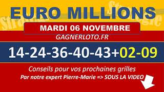 EUROMILLIONS NUMEROS GAGNANTS TIRAGE MARDI 6 NOVEMBRE